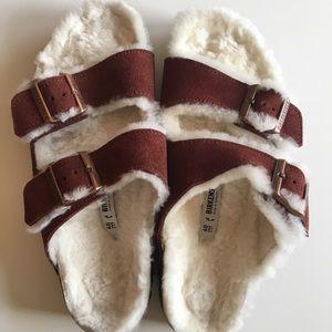 Birkenstock Arizona Shearling suede sandal
